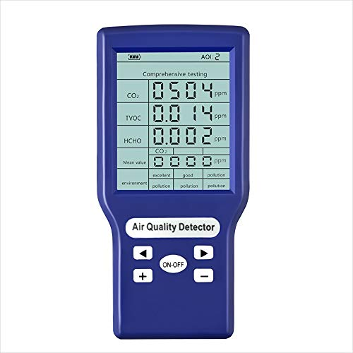 sazoley Multifunktionale CO2 ppm-Messgeräte Mini-Kohlendioxid-Detektor Gasanalysator Protable Air Quality Tester 136 * 65 * 25mm Blau