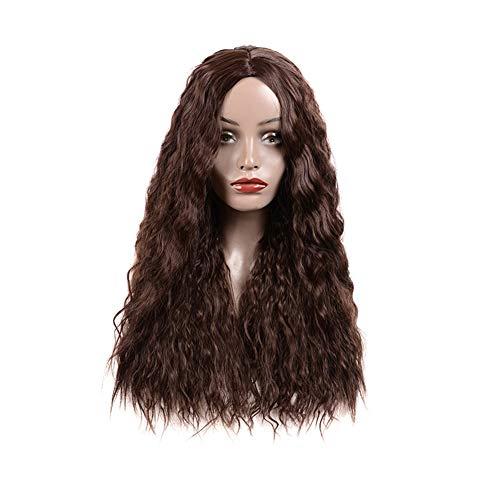 Synthétique longue perruque bouclée avant de dentelle perruques afro Kinky bouclés perruque noire Enracinée Brown résistant à la chaleur fibre nouveau style intense Curly naturel pour les femmes,Noir