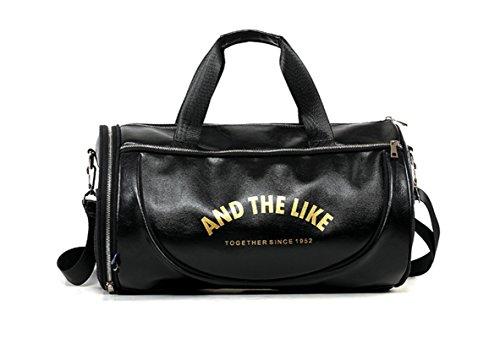 wewo Men Sports Big Gym Bag Womens Zip Sack Tote Duffel Bag Ladies Leather Waterproof Large Travel Bag Weekend Foldable Holdall (Black)