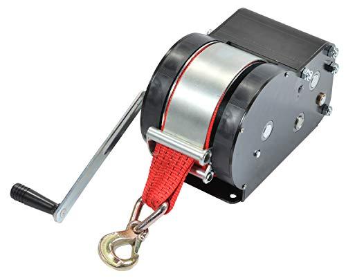 Saarwebstore Goliath Sicherheits Trailerwinden Seilwinde bis 3000kg mit Gurtband und Haken Anhängerwinde Größe Zugkraft 700kg