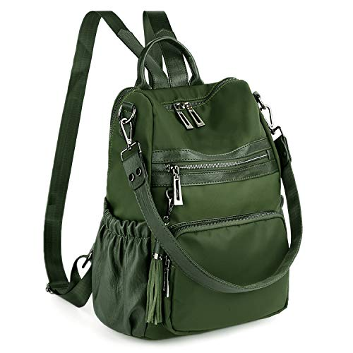 UTO Women Backpack 3 Ways Ladies Shoulder Bag Multi Compartment Anti Theft Pocket Sturdy Zippers Oxford Green