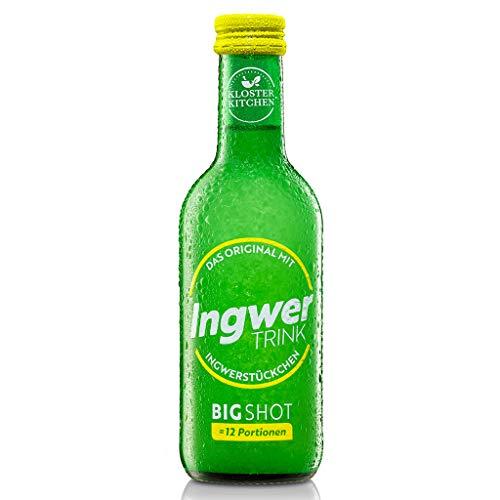 Kloster Kitchen Bio IngwerTRINK Bigshot 250ml, 12x 20ml Ingwer Shot, über 40g Ingwerstückchen, 12 Shots in einer EINWEG Glasflasche, bio und vegan