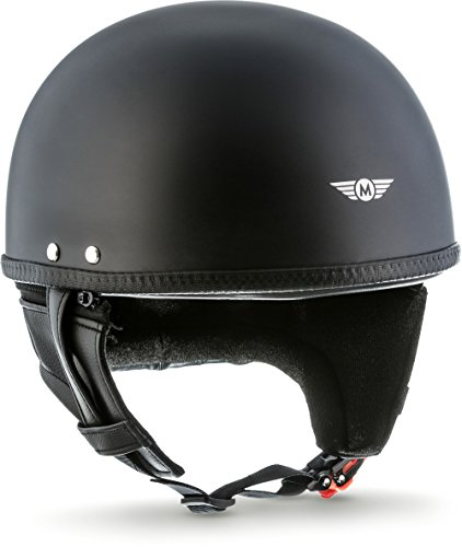 "Moto Helmets® D22 ""Matt Black"" · Brain-Cap · Halbschale Jet-Helm Motorrad-Helm Bobber · Fiberglas Schnellverschluss SlimShell Tasche XXL (63-64cm)"