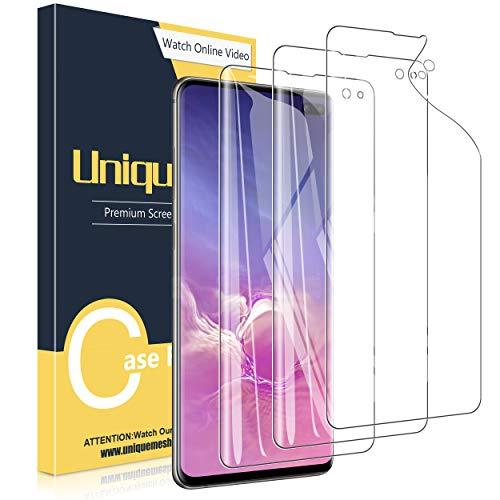 UniqueMe [3 Stück] Schutzfolie für Samsung Galaxy S10 Plus / S10+ Bildschirmschutz, Blasenfrei, TPU Samsung Galaxy S10+ [Blasenfreie] [Anti-Kratzer] Bildschirmschutzfolie