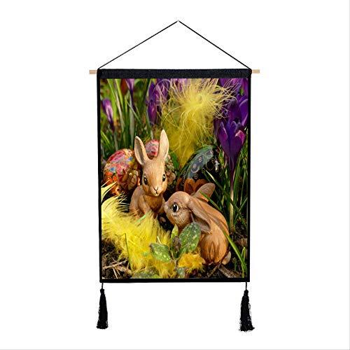 Bloem Konijn Ophangdoek Meter Doos Cover Achtergrond Muur Ophangende Papoea Hennep Doek Ophangend Schilderij 65 * 45cm