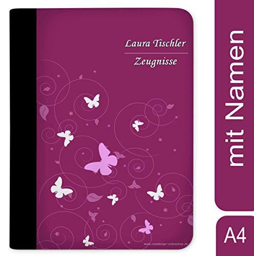 CreaDesign, Z-O-1032-09 Kinder Zeugnismappe mit Namen personalisiert, Motiv Schmetterling Ornamente Brombeere Grau, A4, 24 x 31 x 1 cm, Rücken schwarz