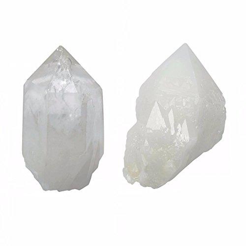 SUNYIK Natural Rock Quartz Crystal Cluster,Druzy Geode Crystal Point,Specimen Gemstone Sculpture Sphere Pack of 2(0.1-0.2lb)
