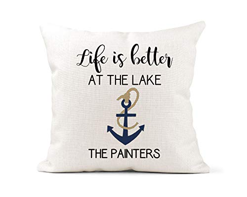 Blafitance Funda de almohada para el día de la madre, 50 x 50 cm, funda de almohada personalizada, Life Is Better At the Lake