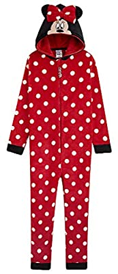 Disney Minnie Mouse Pijama Niña de Una Pieza, Pijama Entero con Capucha 3D, Pijamas Niña de Lunares Regalos para Niña y Adolescente Edad 2-14 Años (9-10 años)