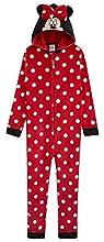 Disney Minnie Mouse Pijama Niña de Una Pieza, Pijama Entero con Capucha 3D, Pijamas Niña de Lunares Regalos para Niña y Adolescente Edad 2-14 Años (13-14 años)