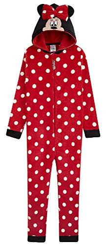 Disney Minnie Mouse Mädchen Einteiler, Fleece, mit Kapuze, 2–14 Jahre Gr. 5-6 Jahre, rot
