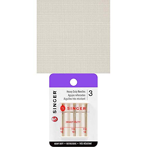 Sunbrella Linen Natural Outdoor Canvas Fabric by The Yard Bundle with Singer 4758 Universal Heavy Duty Sewing Machine Needles, Size 110/18, 3-Count