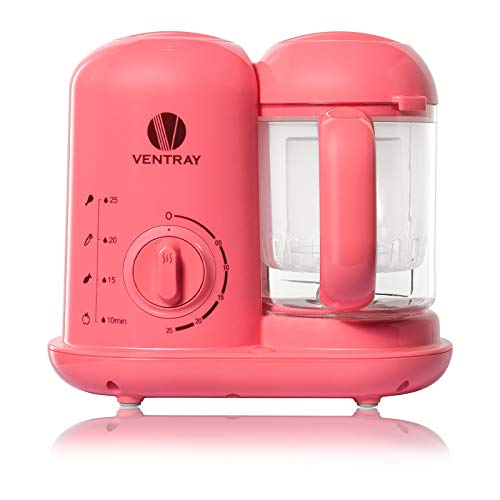 Ventray BabyGrow 100 Baby Food Maker, All-In-one Baby Food Processor, Blender, Steamer, Chop, Puree, Easy Clean, Organic, Cook At Home,Pink