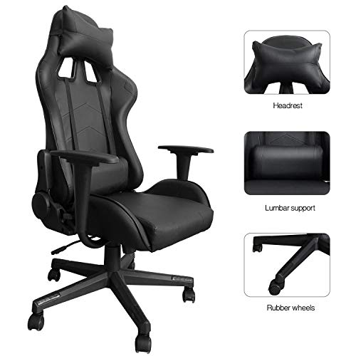 Modern-Depo Gaming Chair with Headrest and Lumbar Support, Height Adjustable Swivel Office Chair High-Back Recliner, Black black chair gaming