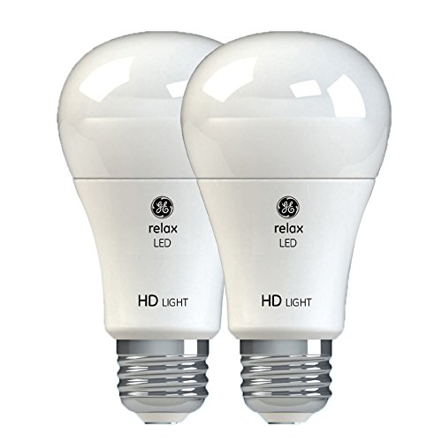 GE Relax HD LED Light Bulbs, 60W Replacement, A19, 2-Pack, Soft White, Medium Base, Dimmable LED Light Bulbs