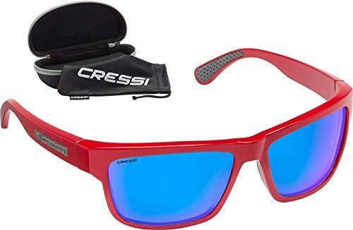 Cressi Ipanema Sunglasses Gafas de Sol Deportivo, Adultos Unisex, Rojo/Lentes espejadas Azul, Talla única