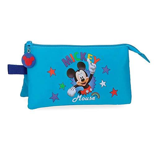 Disney Mickey Stars Trousse triple compartiment Bleu...