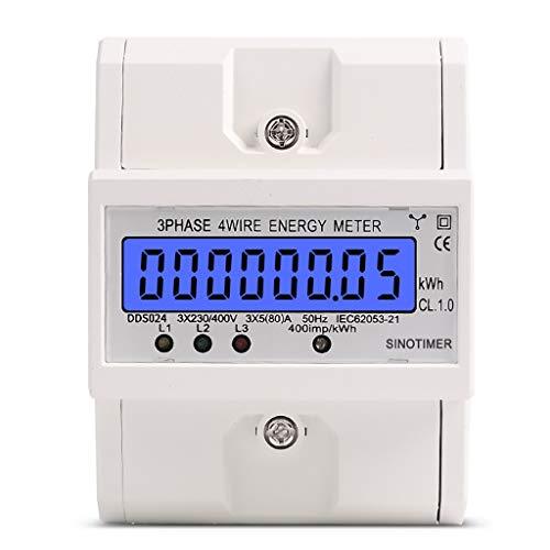 Digitaler Stromzähler LCD Drehstromzähler 3-Phasen-4-Draht Drehstromzähler für DIN Hutschiene Wechselstromzähler
