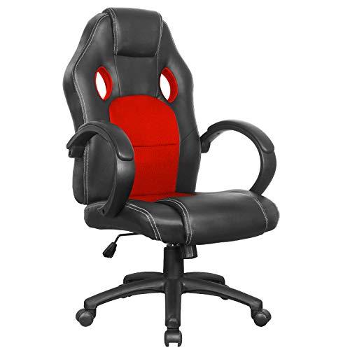 Polar Aurora Office Chair Leather Desk High Back Ergonomic Adjustable Racing Chair Task Swivel Executive Computer Chair(Red)