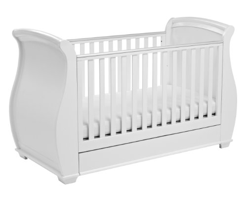 Babymore Bel Sleigh Baby Cot Bed with Foam Mattress & Drawer | Solid Birch and Oak Veneer | Converts into Baby Bed, Toddler Bed, Dropside Mechanism | Teething Rails | White