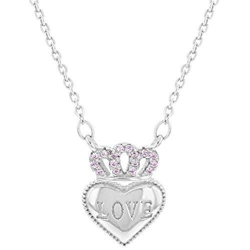 925sterling Silver rosa CZ corona collana con ciondolo a forma di cuore per le ragazze adolescenti 40,6cm