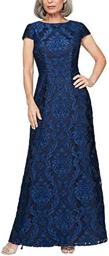 Alex Evenings Women s Long Velvet Burnout Dress Petite and Regular Sizes Bright Navy A Line product image