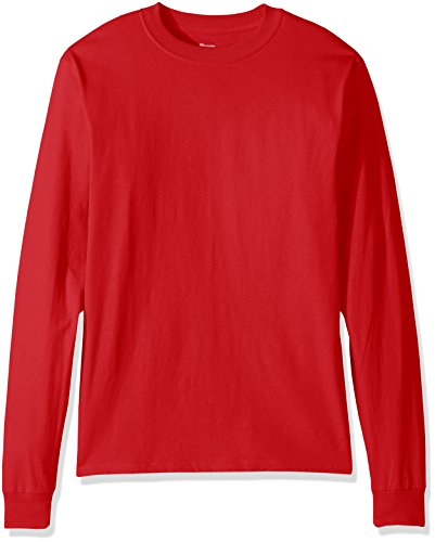 Hanes Men's Beefy Long Sleeve Shirt, Deep Red, XL