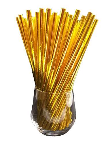 Sam for You Papierstrohhalme, Papier Trinkhalm, Biologisch, Lebensmittelecht, umwelftreundlich, Einweg-Strohhalme, 120 Pack (Gold)