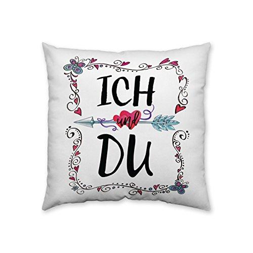 Boho Chic 44944 Baumwoll-Kissen mit Nostalgie-Design Ich und Du, 30 cm x 30 cm, Sofa-Kissen