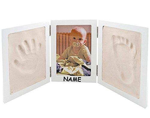 alles-meine.de GmbH Bastelset - Händeabdruck + Fußabdruck - mit Fotorahmen - incl. Name - für Kinder & Erwachsene - Rahmen Abdruck - Kind Kinder Form - Gipsformen Gips gießen Gip..