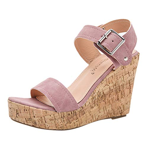 For Sale! KCPer Womens Espadrille High Platform Wedge Sandals Open Peep Toe Ankle Strap Buckle Shoes...