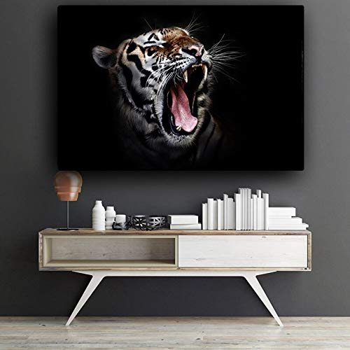 Rahmenlose Malerei Schwarzweiss Wilder afrikanischer Tiger Tier Leinwand Kunstplakat und Druck Wandkunst DekorationCGQ7565 60X90cm