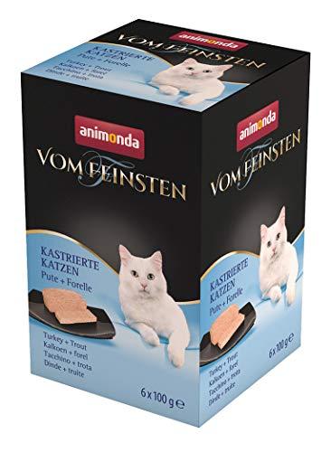 animonda Vom Feinsten Adult Katzenfutter, Nassfutter für ausgewachsene Katzen, kastrierte Katzen Pute + Forelle, 6 x 100 g