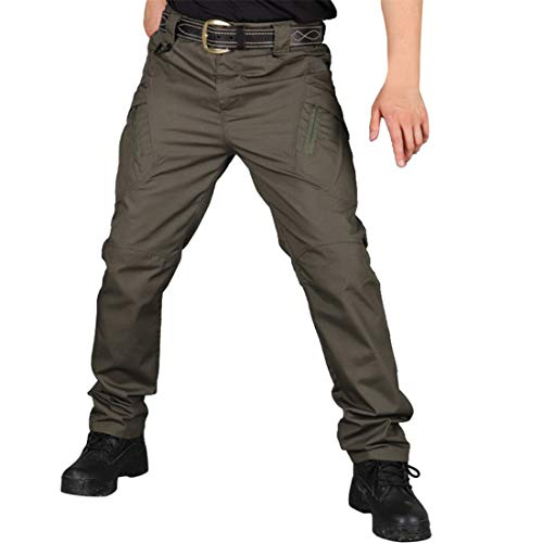 Freeby Men's Outdoor Waterproof Pants Multi-Function Scratch-Proof Camping Climbing Multi-Pocket Storage Hiking Pants (Army Green, L)