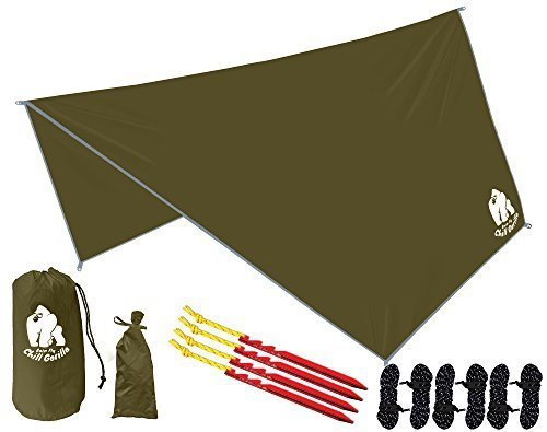 """Chill Gorilla HEX Hammock Rain Fly Camping Tarp. Ripstop Nylon. 142"""" Centerline. Stakes, Ropes & Tensioners Included. Camping Gear & Accessories. Perfect Hammock Tent. OD Green"""