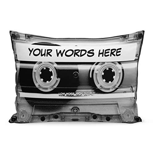 Aikul Throw Pillow Covers Mixtape Cassette Tape Personalized Clear Retro Vintage Mix Pillow Case Cushion Cover Lumbar Pillowcase Decoration for Couch Sofa Bed Car,20 x 30 inchs