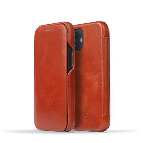 NOVADA - Custodia in vera pelle per iPhone 12 Mini, colore: Marrone chiaro