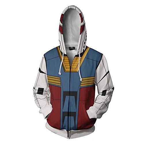 Synona Gundam Serie Felpa con Cappuccio Giacca Unisex Char Aznable Amuro Ray Classico Cosplay Manica Lunga Casual Tops Coppia Hoodie Pullover Sweatshirt per Uomo Donna Street Trendy