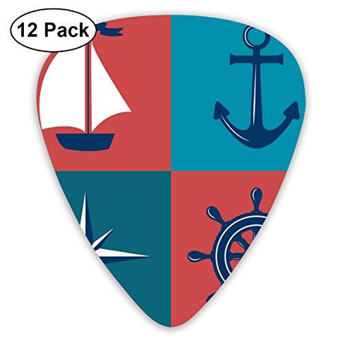 Rterss Sampler Gitaar Pick Klassieke Picks 12-pack Voor Elektrische Gitaar Akoestische Gitaar Mandoline En Bass Vintage Blauw Anker Marine Nautical Avontuur Navigatie Boot Kompas Cruise Aangepast