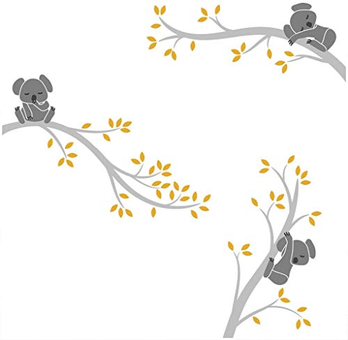 BDECOLL Koala de pared,Pegatina de pared vinilo adhesivo decorativo para cuartos, dormitorios,cocina,sala de estar(Gris)