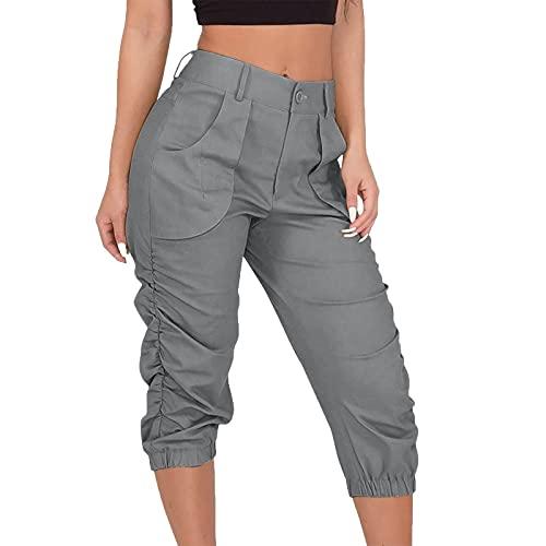 Pantalones de Trabajo Suelta Color Liso para Mujer Pantalones de Mujer 7/8 Multibolsillos Pantalón Mujer con Cremallera Casual para Verano Pantalones Mujer Ideal para Oficina,Trabajo,Entrevist