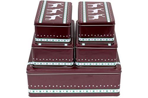 Posten Börse Gebäckdose 5er Set eckig rot Weihnachtsmotiv Rentier Metall