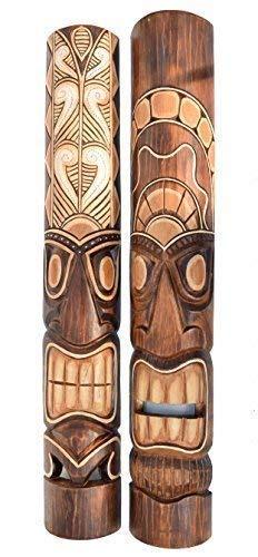 Interlifestyle 2 Tiki Máscara de Pared 100cm Im Hawai Estilo Máscaras con Motivos Máscara de Madera Máscara Isla de Pascua