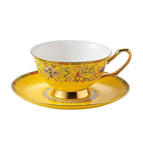 RUXMY Exquisitos Juegos de platillo de Taza Bone China Taza de café y platillo Servicio de té Servicio de Porcelana Imperial Café Inglaterra Número 1 Mejor Regalo (Color: Amarillo, Tamaño: Talla ú