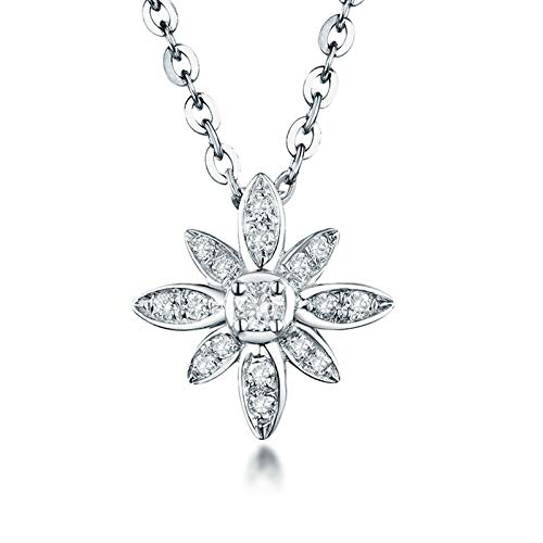 Aartoil 18K White Gold Pendant Necklace for Women s Flowers Shape with 0.18ct Diamond Pendant Valentine's Day Birthday Gift with Silver Chain