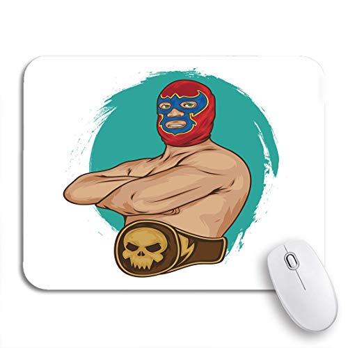 N\A Gaming Mouse Pad Wrestling Mexican Wrestler Pose Mexico Ring Fight Lucha Mask Antideslizante Respaldo de Goma Computer Mousepad para Cuadernos Alfombrillas de ratón