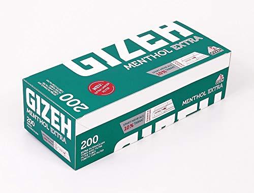 GIZEH Menthol Extra 200 Filterhülsen, extra-langer Filter, 200 Hülsen pro Box 10 Boxen (2000 Hülsen)