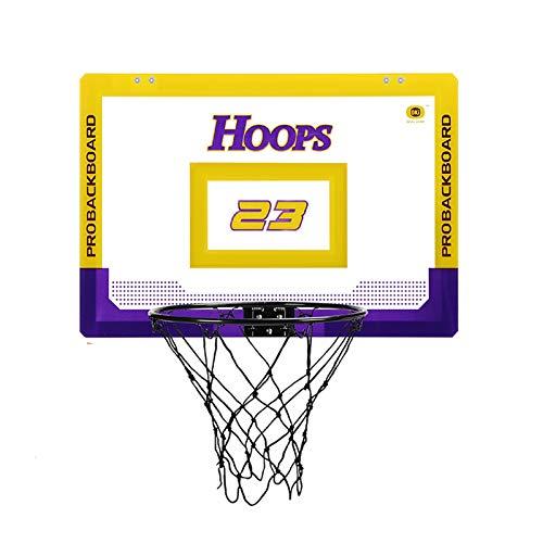 Canasta Tableros de Baloncesto Tablero de Baloncesto Transparente para Sala de Juegos para Adolescentes, Juego de Red Portátil para Aro de Baloncesto con Bola y Bomba en la Puerta, 59×40.5cm