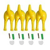 FUNCOCO Gancho para llaves, 4 piezas de plástico nórdico para perros cola de perro, montado en la pared, abrigo, sombrero, decoración de la percha - amarillo