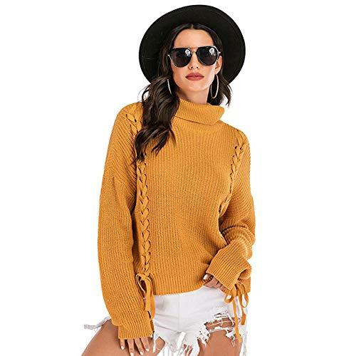 QXPORV gebreide trui voor dames met lange mouwen sweatshirt lente en herfst sweatshirts verdikte rolkraag pullover buitenste losse student college stijl Solid Color Base gebreide trui